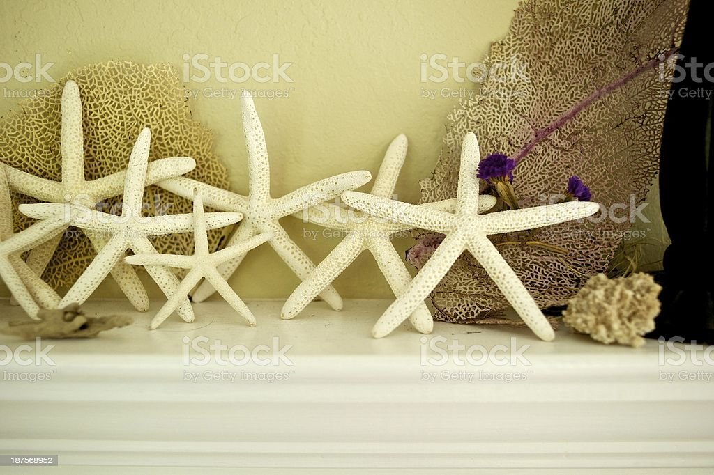 Ocean decorations on a mantle royalty-free stock photo