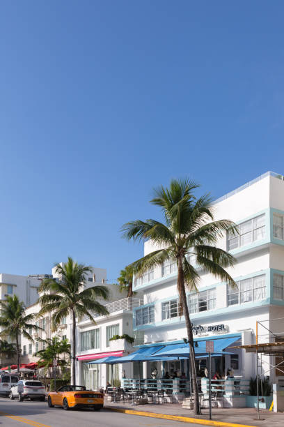 Ocean Drive and the Art Deco District stock photo