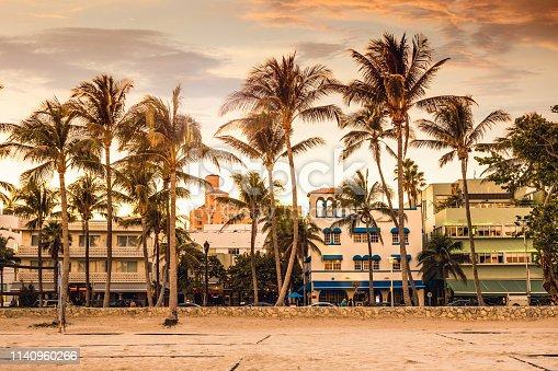 Ocean Drive at dusk in Miami Beach, Florida, USA.