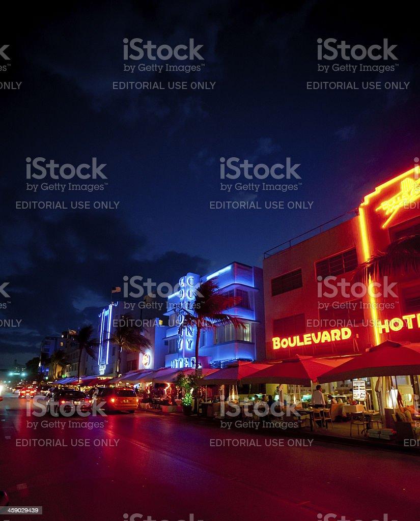 Ocean Drive At Night Miami Beach Royalty Free Stock Photo