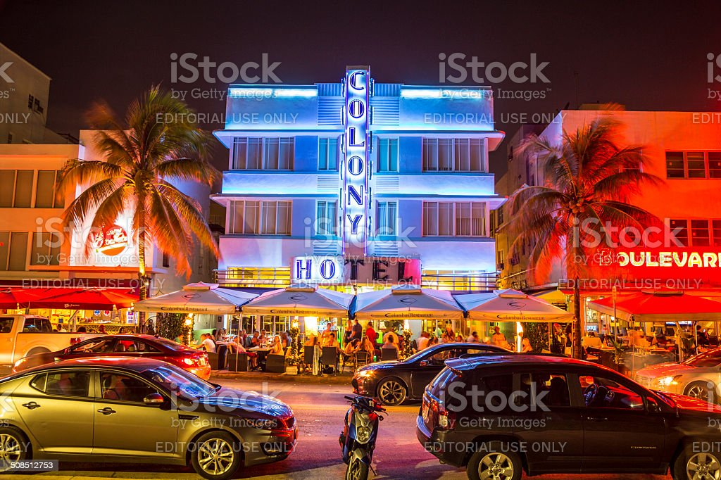 Ocean drive buildings in South beach by night stock photo