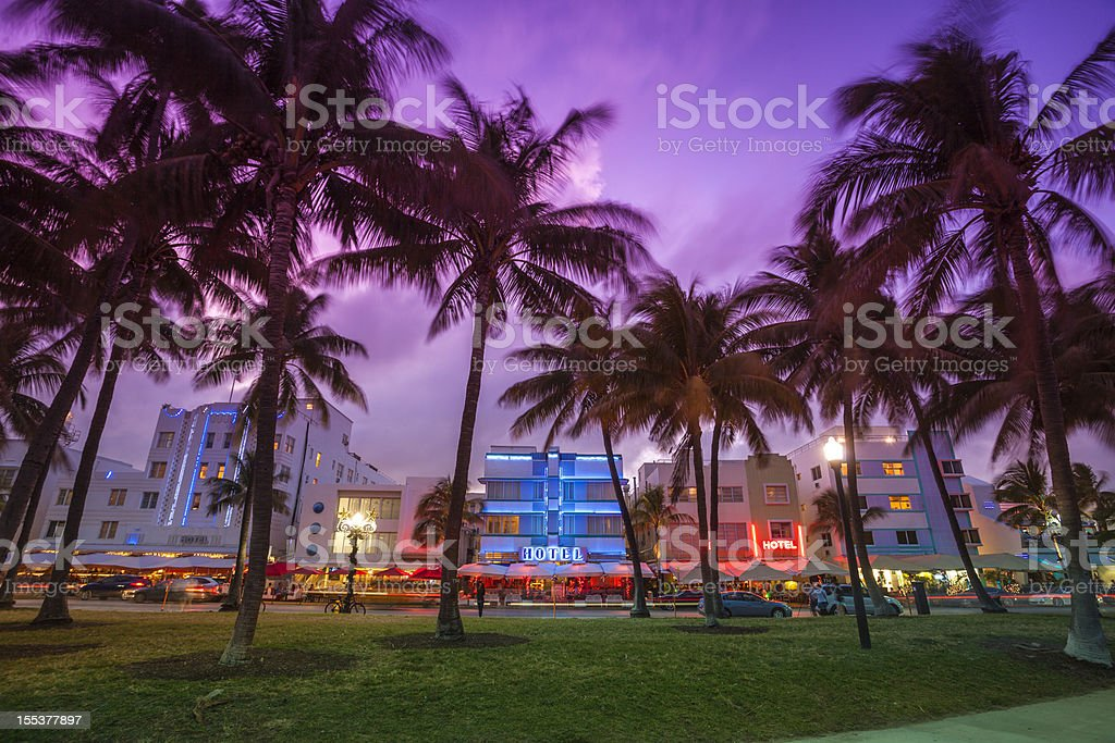 Ocean Drive by the beach in Miami  Art Deco Stock Photo