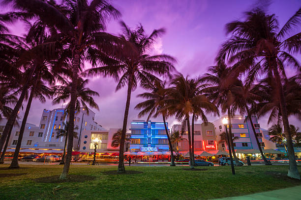Ocean Drive by the beach in Miami  miami beach stock pictures, royalty-free photos & images