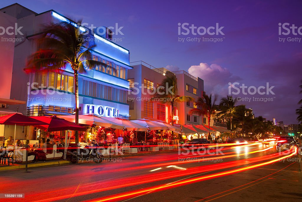 Ocean Drive by the beach in Miami Nightlife on the art deco district of South Beach in Florida USA Art Deco Stock Photo