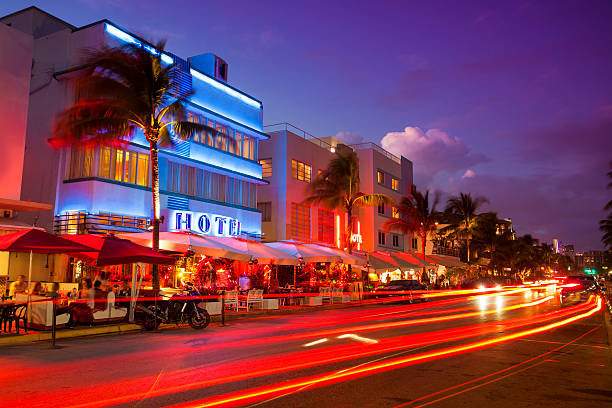 Ocean Drive by the beach in Miami stock photo