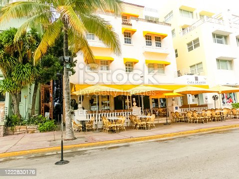 Miami, United States of America - November 30, 2019: Ocean Drive Casa Grande Hotel at Ocean drive in Miami Beach, Florida on November 30, 2019. Art Deco architecture in South Beach is one of the main tourist attractions in Miami.