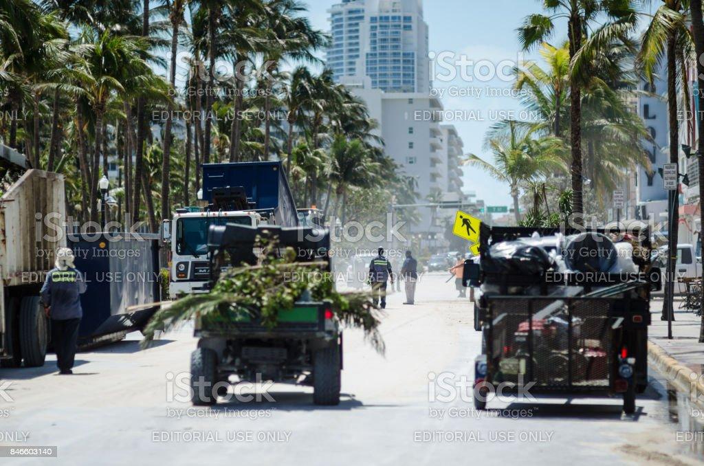 Ocean Drive Miami Beach Hurricane Cleanup stock photo