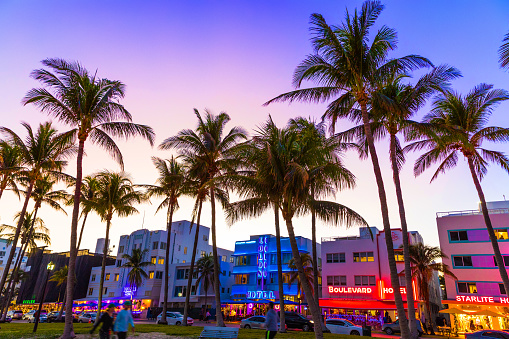 Ocean Drive night in Miami Beach