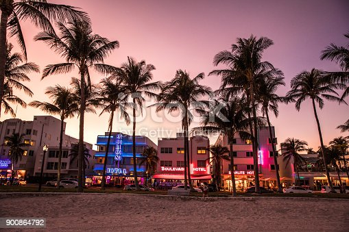 Ocean Drive night in Miami Beach - Florida