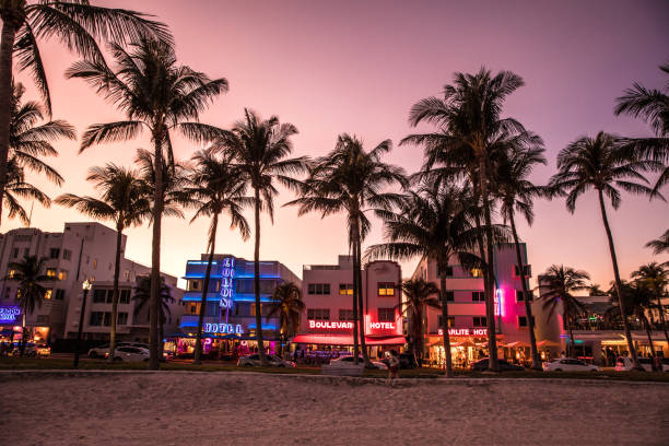 ocean drive night in miami beach - art deco stock photos and pictures