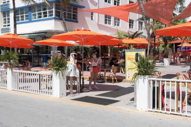 Ocean Drive restaurants expand outdoor seating during the Coronavirus pandemic stock photo