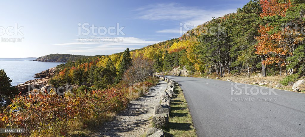 Ocean Drive road panorama, Acadia National Park stock photo