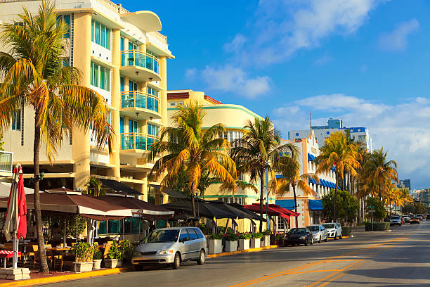 Ocean Drive street in South Beach, FL stock photo