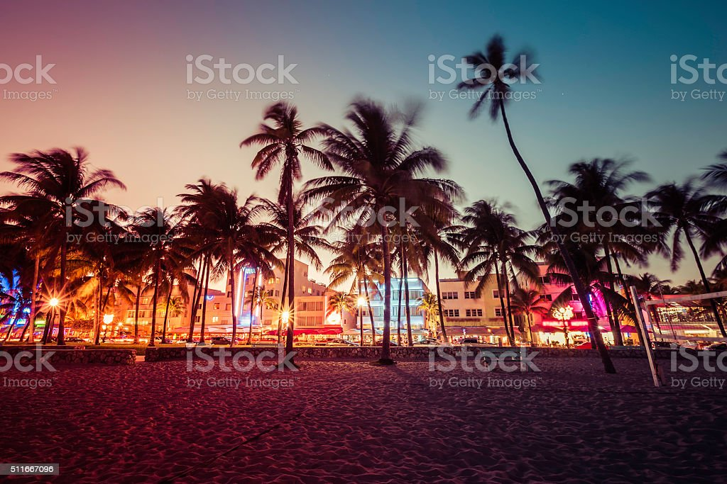 Ocean Drive street with illuminated buildings, South Beach stock photo