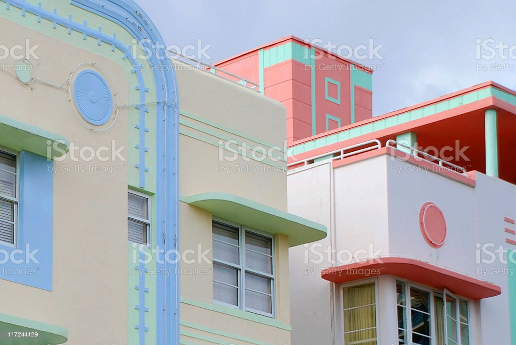 Ocean Drive's Art Deco royalty-free stock photo