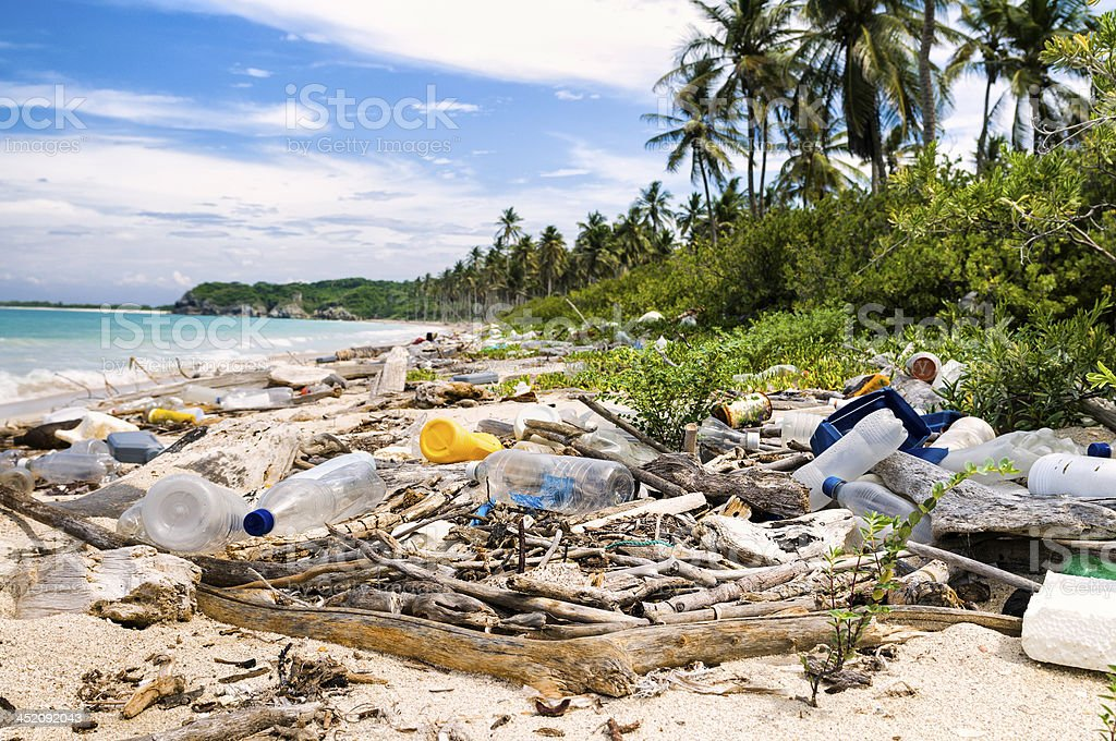 Ocean Dumping - Total pollution on a Tropical beach royalty-free stock photo