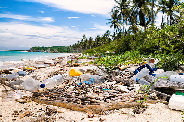 ocean dumping - total pollution on a tropical beach - ocean plastic stock pictures, royalty-free photos & images