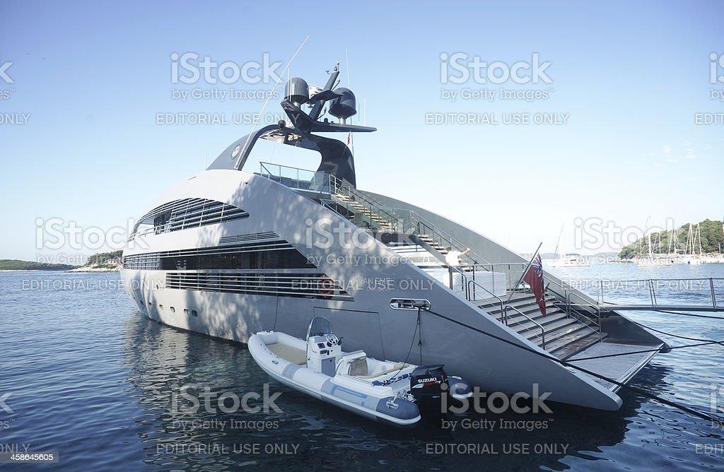 Ocean emerald yacht at Hvar port stock photo