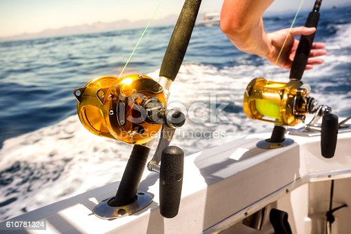 156872766istockphoto Ocean Fishing Reels and Rods with Grabbing Hand 610781324