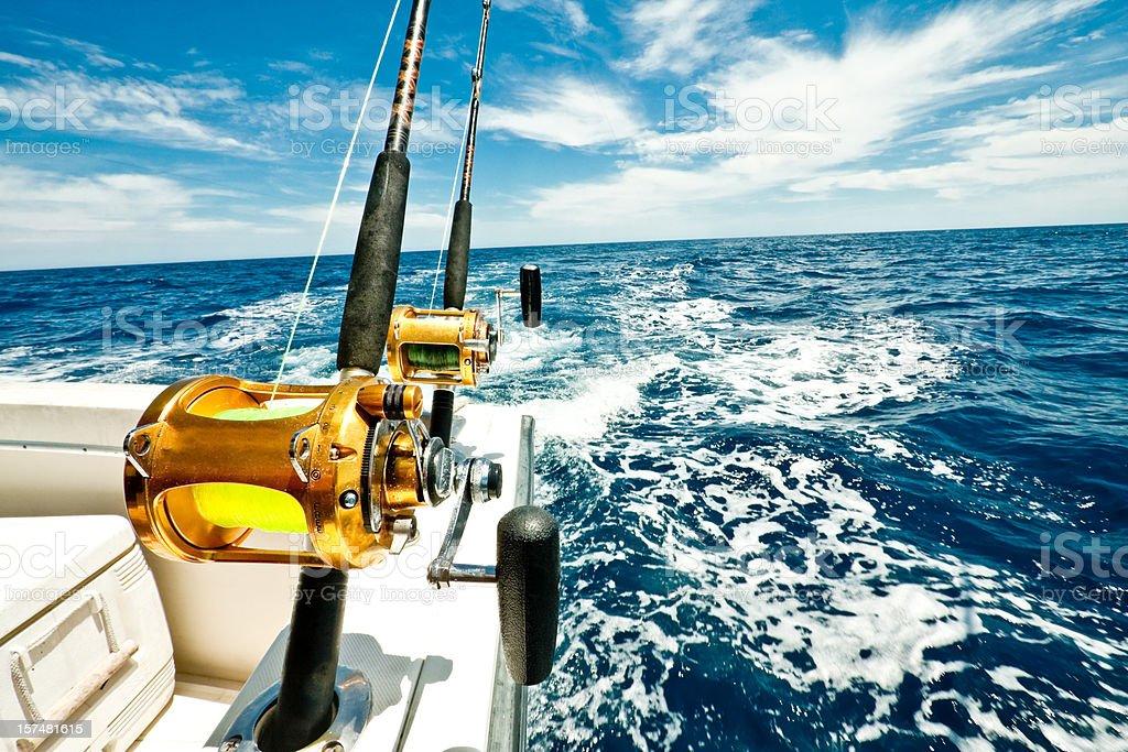 Ocean Fishing Reels on a Boat in the Ocean royalty-free stock photo