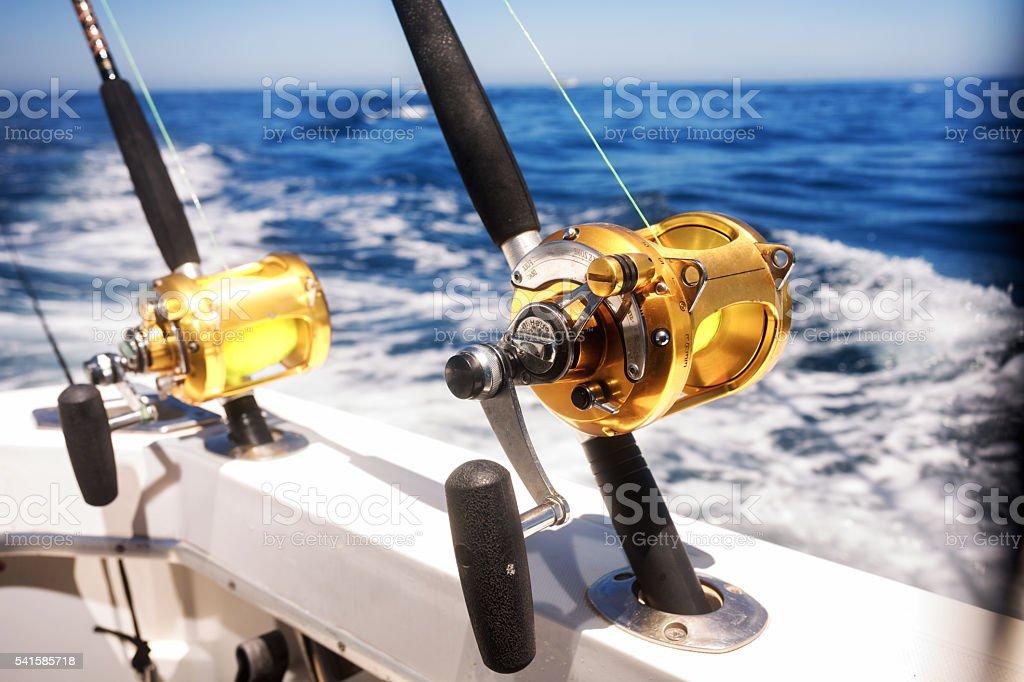 Ocean Fishing Reels On A Boat In The Ocean Stock Photo - Download