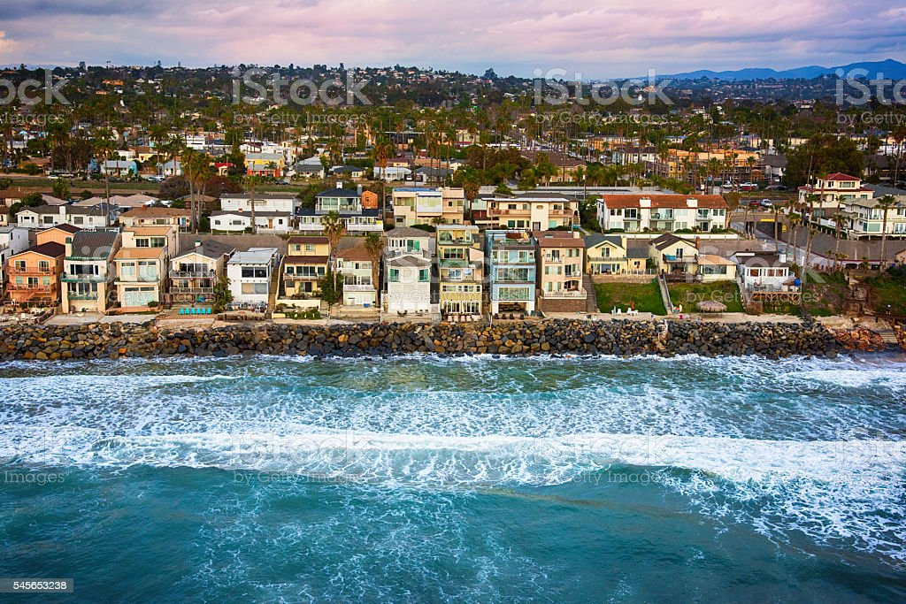 Ocean Front Southern California Neighborhood - San Diego stock photo