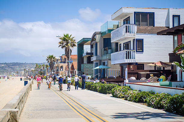 Ocean Front Walk at Mission Beach in San Diego, CA stock photo