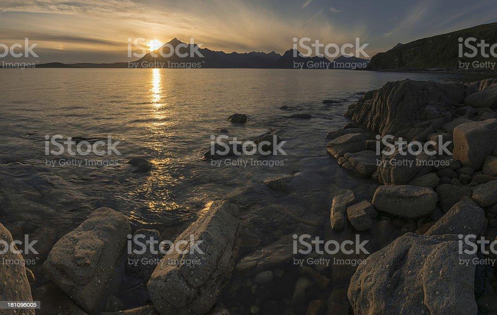 Ocean island mountain sunset panorama Elgol Cuillins Skye Scotland stock photo