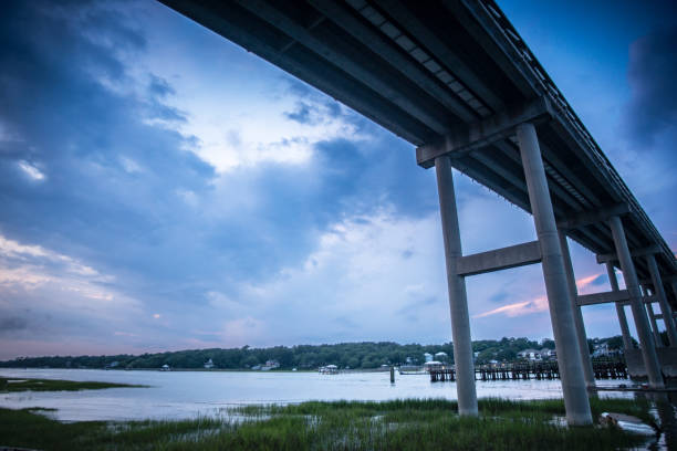 Ocean Isle Beach, NC The tall bridge that leads residents and visitors to Ocean Isle Beach, NC, USA. elevated road stock pictures, royalty-free photos & images