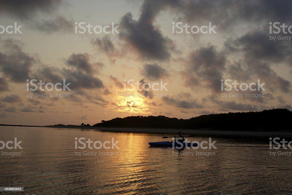 Ocean Kayak during Sunrise stock photo