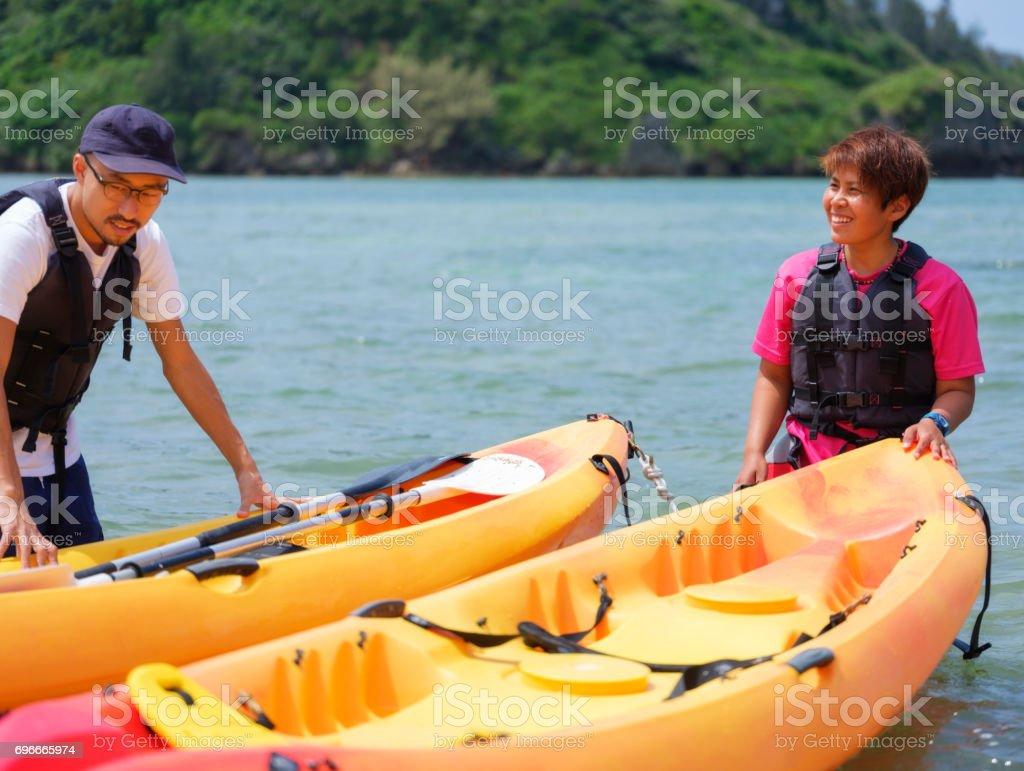 Ocean Kayaking in Okinawa Japan royalty-free stock photo