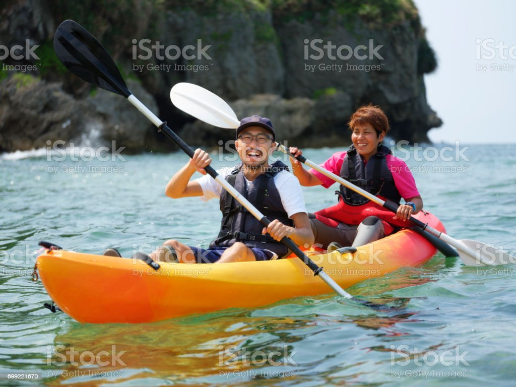 Ocean Kayaking in Okinawa Japan stock photo