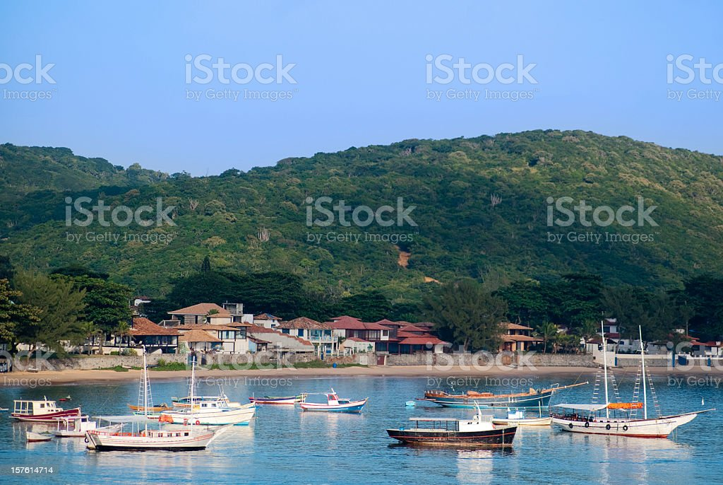 ocean landscape with boats and condos stock photo