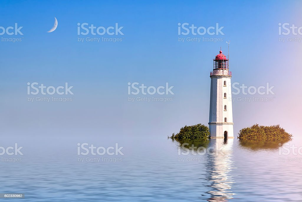 ocean landscape with lighthous and moond – Foto