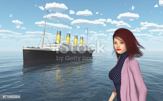 1137329370istockphoto Ocean liner and attractive woman with blowing hair in fashionable clothes 971550004