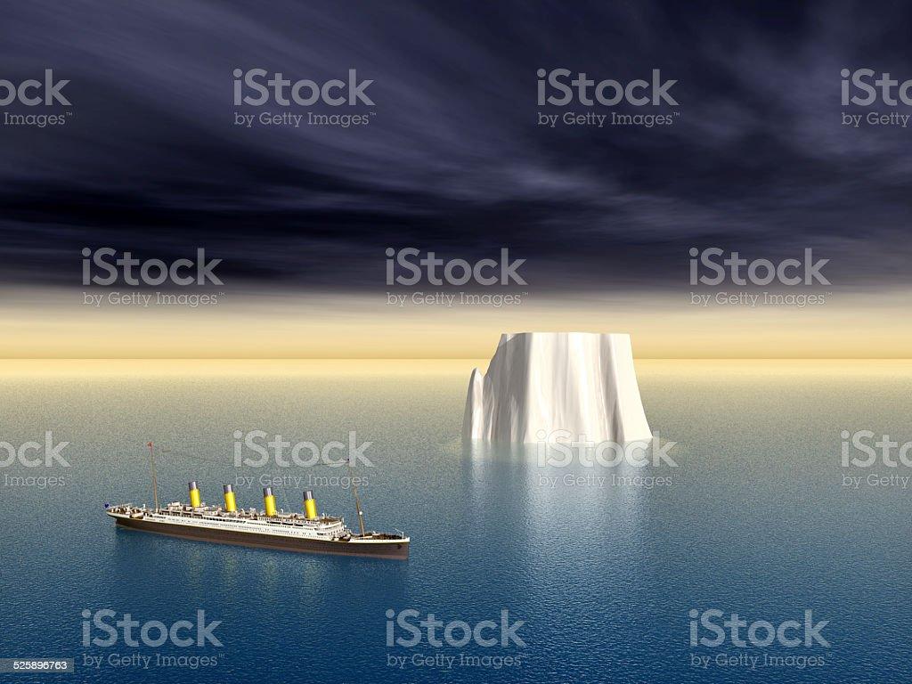 Ocean Liner and Iceberg stock photo