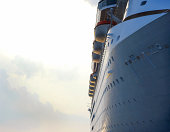 Sunset lighting on a cruise ship.