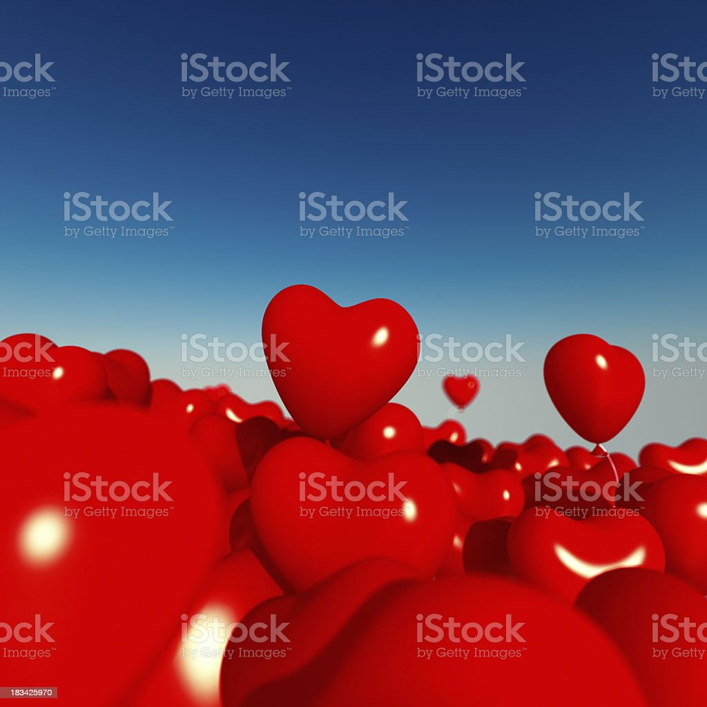Ocean of Red Heart-Shaped Balloons royalty-free stock photo