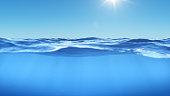 Ocean or sea in half water half sky. Rays of sunlight shining from above penetrate deep clear blue water. Realistic dark blue ocean surface. View - half of the sky, half water, 3D rendering