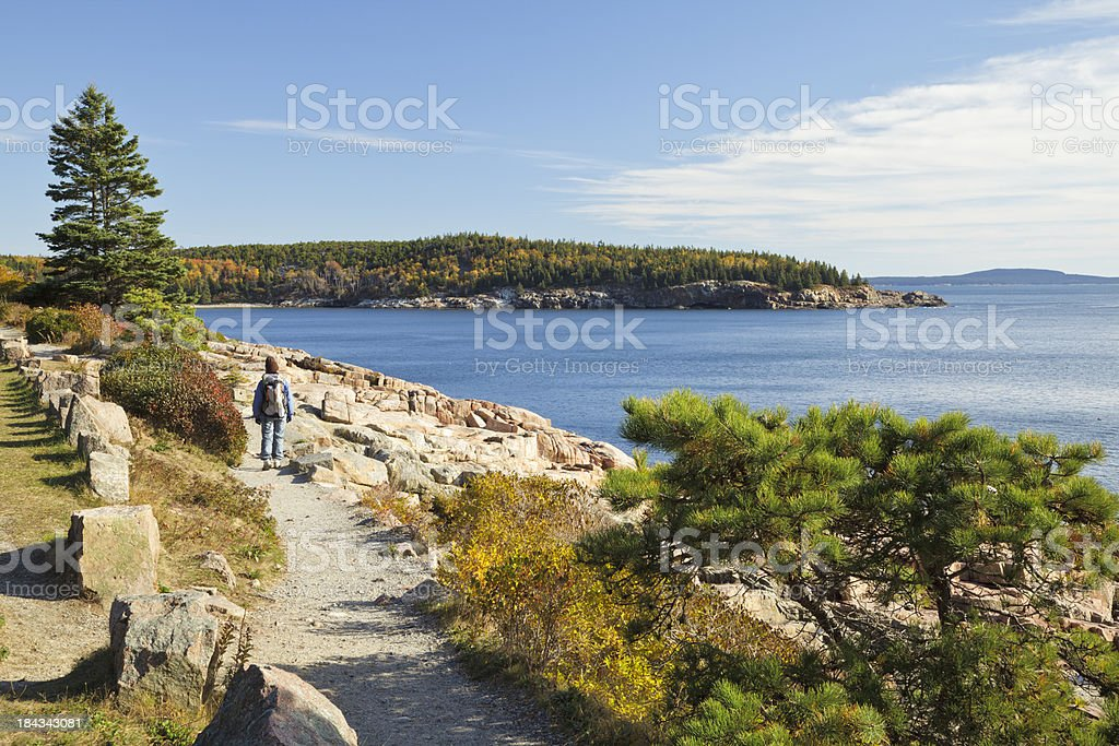 Ocean Path Autumn hiker, Acadia National Park stock photo