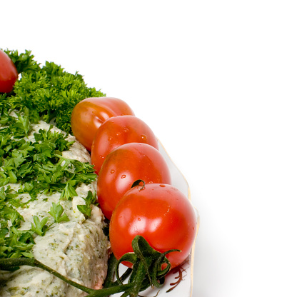Ocean Perch Salad Fragment With Tomatos Stock Photo - Download Image Now