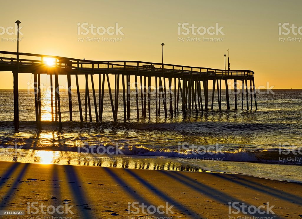 Ocean Pier Sunrise stock photo