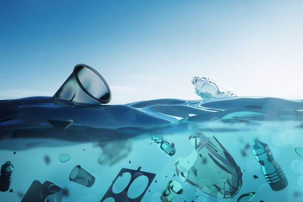 Ocean Pollution - Floating Bags and Plastic Waste stock photo