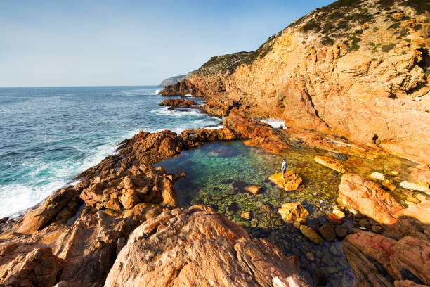 Ocean Pool and Lone Person on an Isolated Coastline stock photo