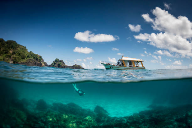 Ocean realm View of a tour boat and a woman free diving at 'Sancho' beach in the archipelago of Fernando de Noronha - Brazil free diving stock pictures, royalty-free photos & images