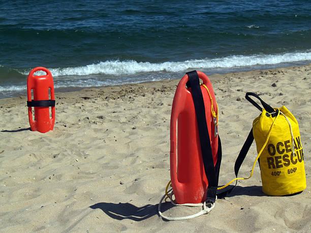 Ocean Rescue Gear Near Water's Edge in Ocean Grove, New Jersey stock photo