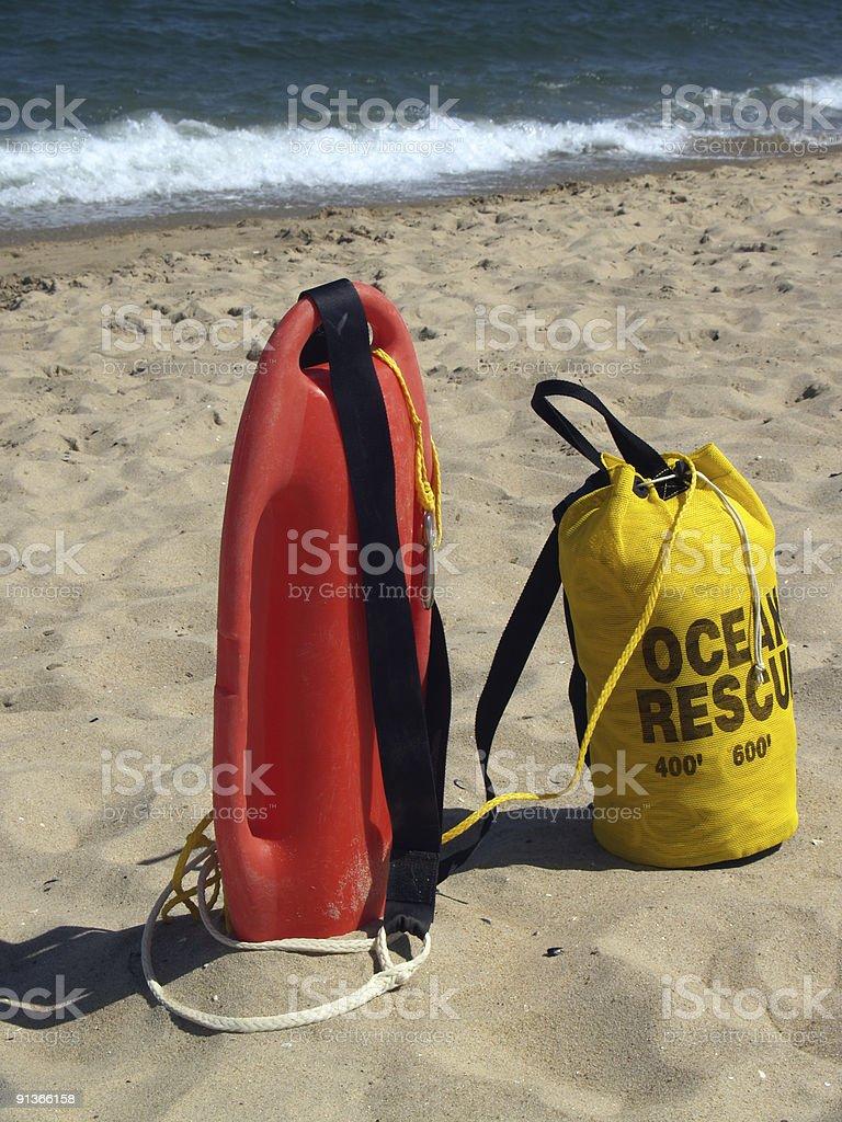 Ocean Rescue Gear Ready in Sand in Ocean Grove, New Jersey stock photo