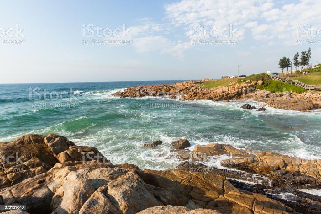 Ocean Rocky Coastline Waves Holiday Landscape stock photo