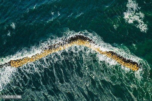 Ocean sea waves aerial view