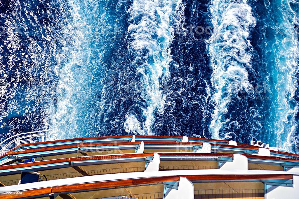 Ocean ship wake trail stock photo